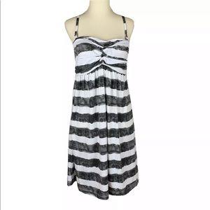 NICOLE MILLER Convertible Strap Sundress Gray Wht